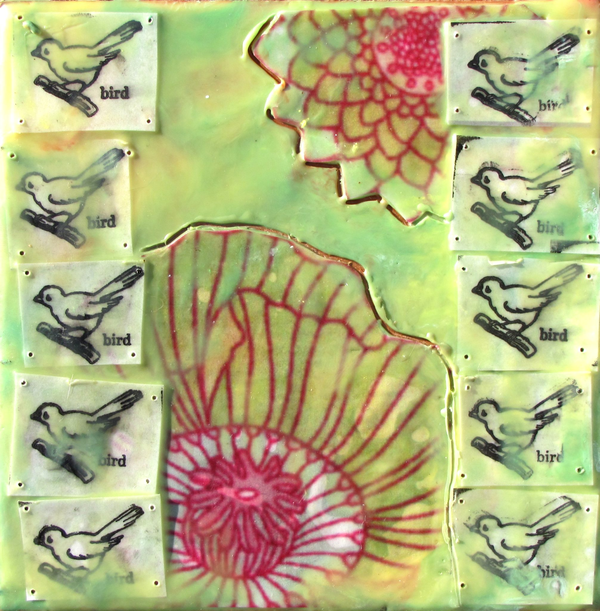 Bird is the Word, mixed media encaustic by Courtney Putnam
