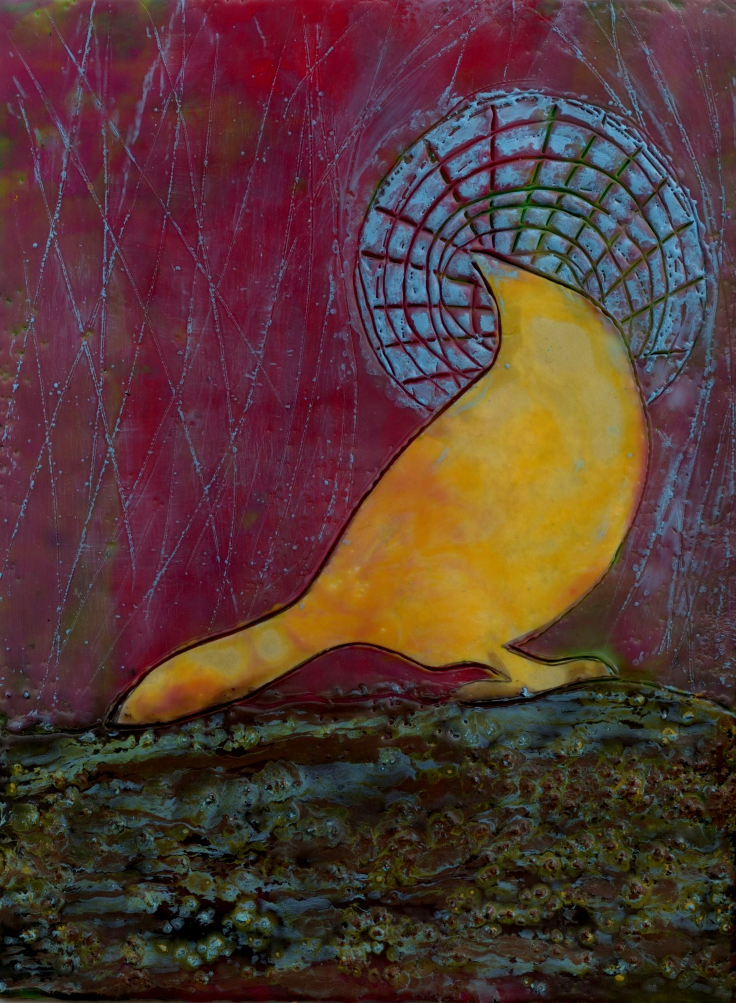 Birdset, Moonrise, mixed media encaustic by Courtney Putnam