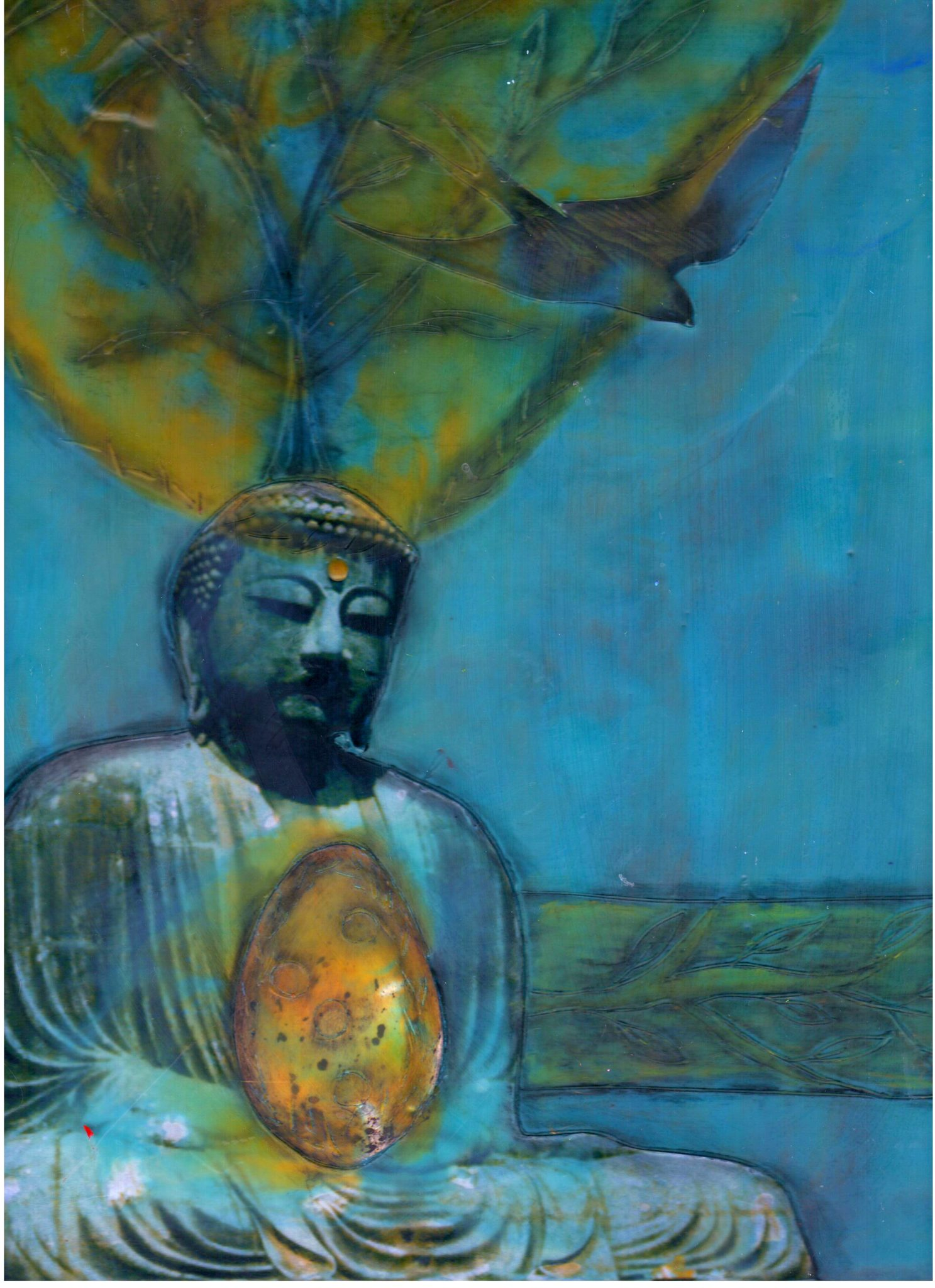 Buddha's Creativity, mixed media encaustic by Courtney Putnam