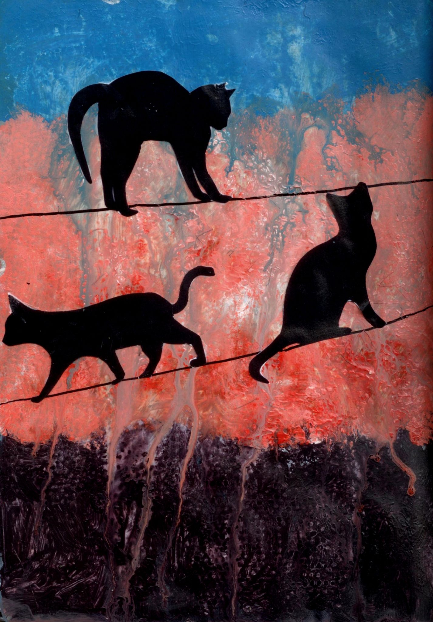 Cats on a Wire, mixed media collage by Courtney Putnam