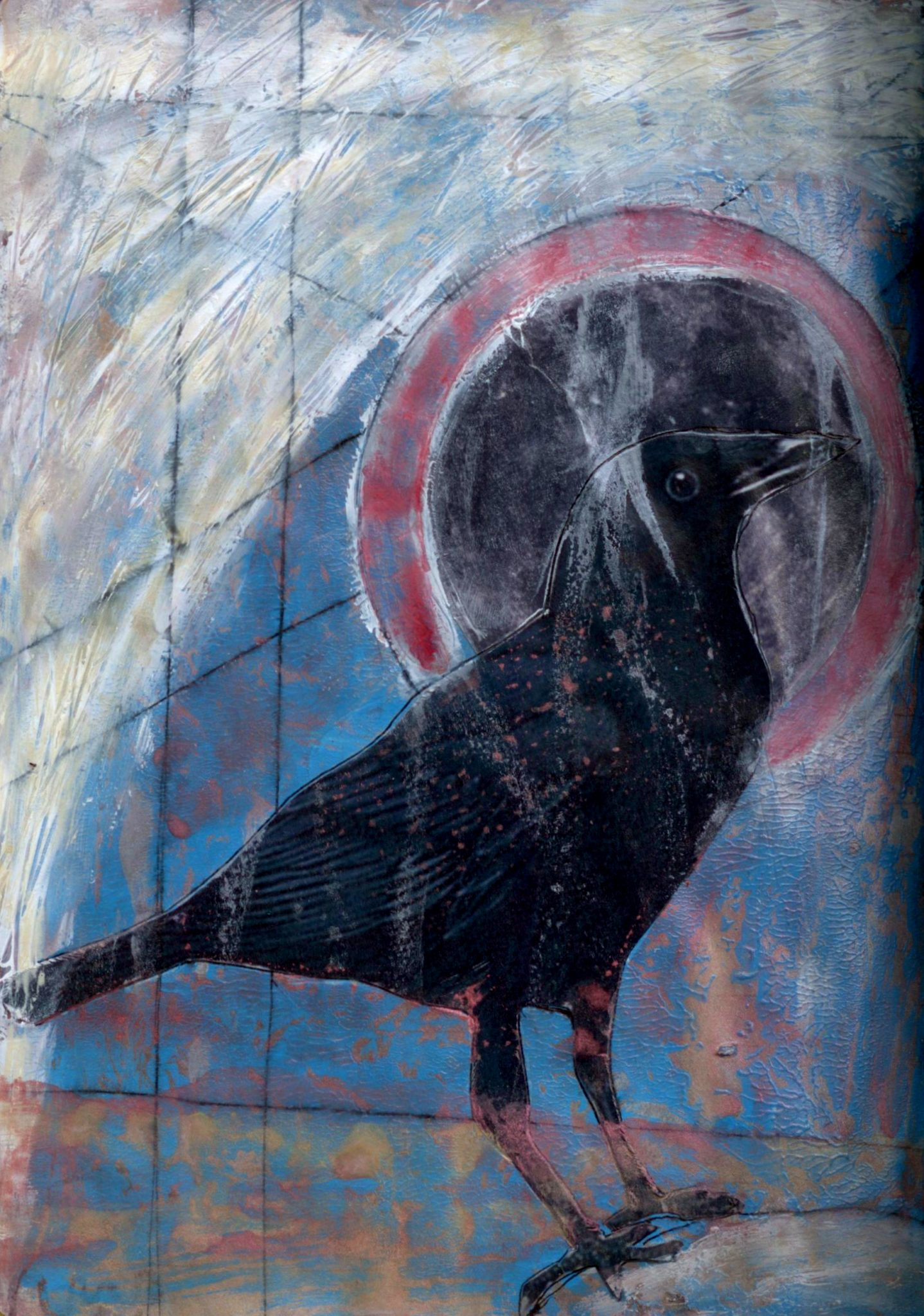 Crow's Night, mixed media collage by Courtney Putnam