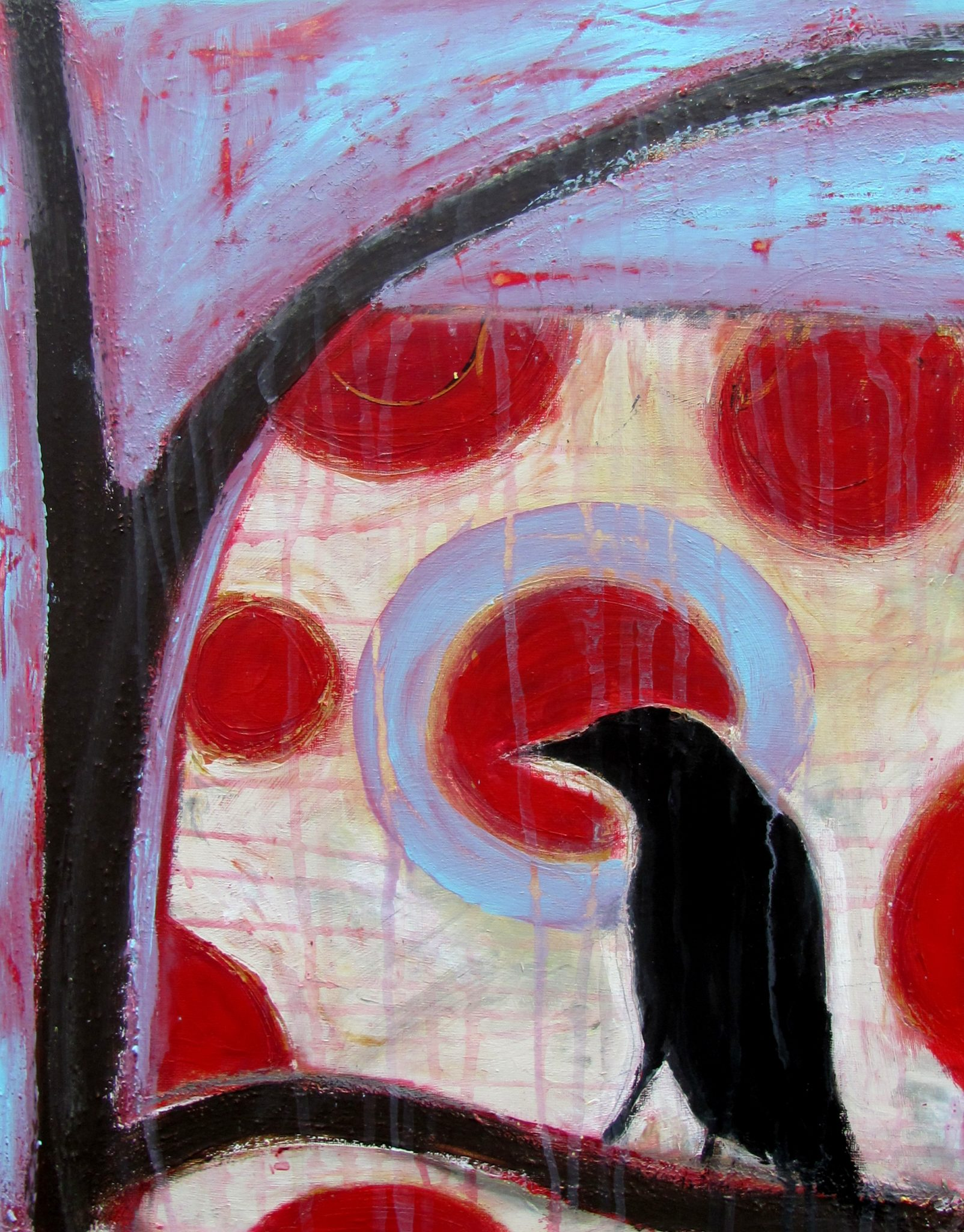 Contemplative Crow, acrylic painting by Courtney Putnam