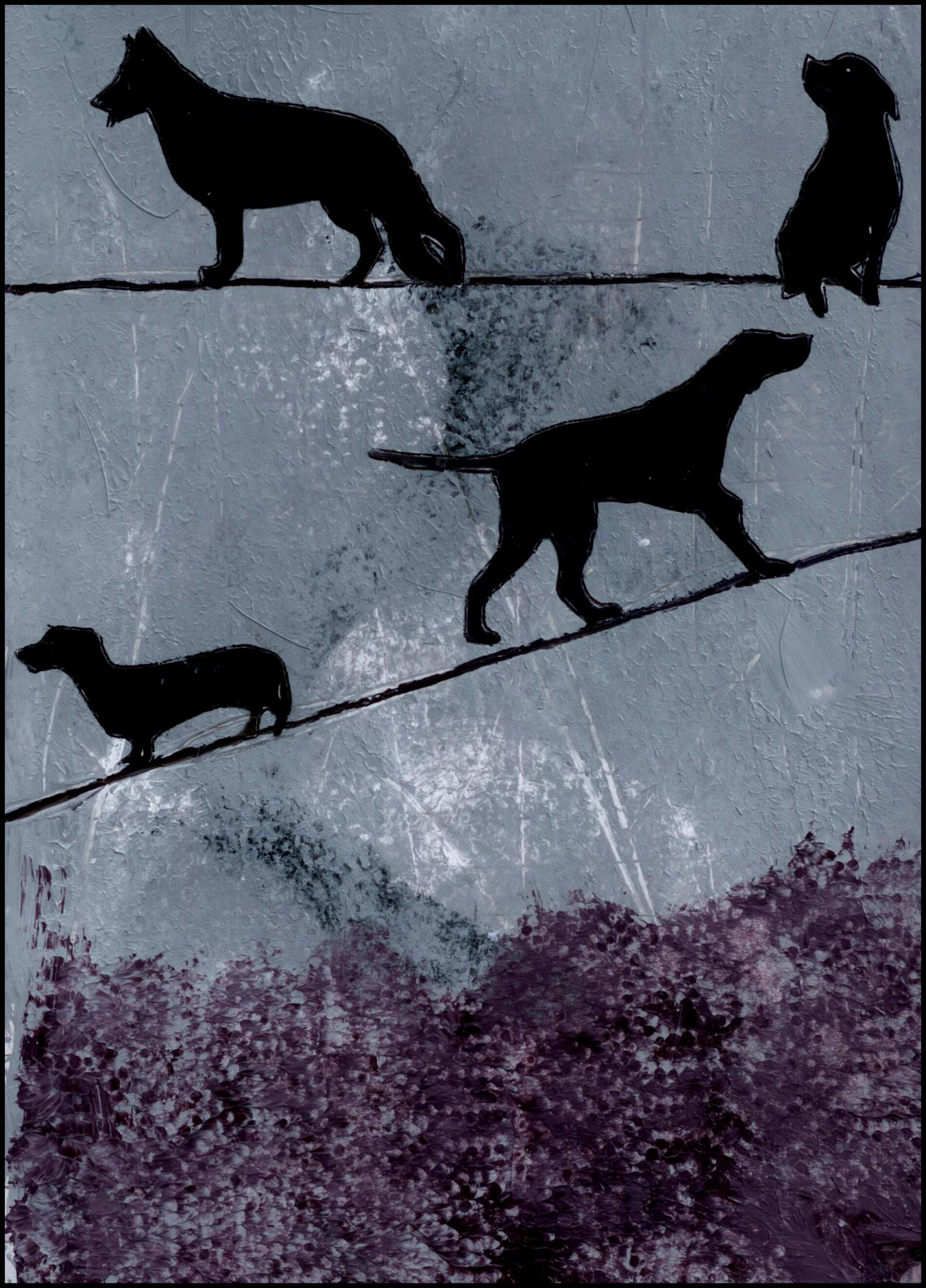 Dogs on a Wire, mixed media collage by Courtney Putnam