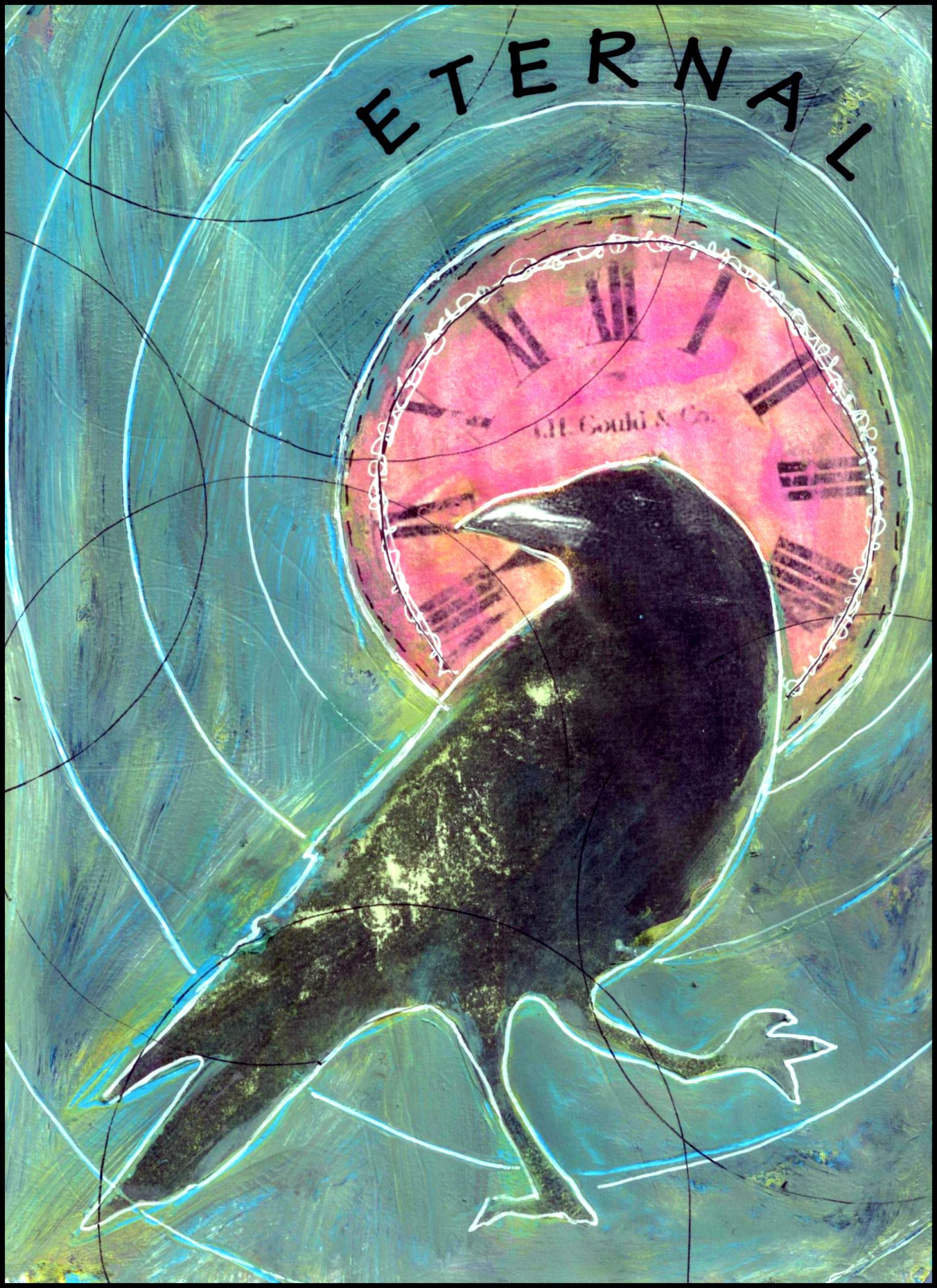 Eternal Crow, mixed media collage by Courtney Putnam