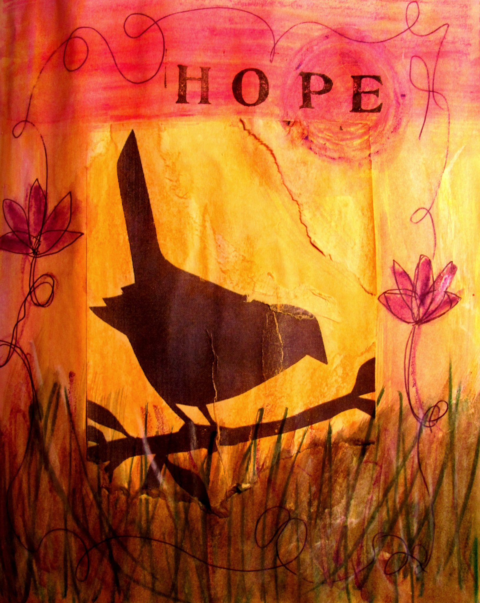 Hopeful, mixed media collage by Courtney Putnam