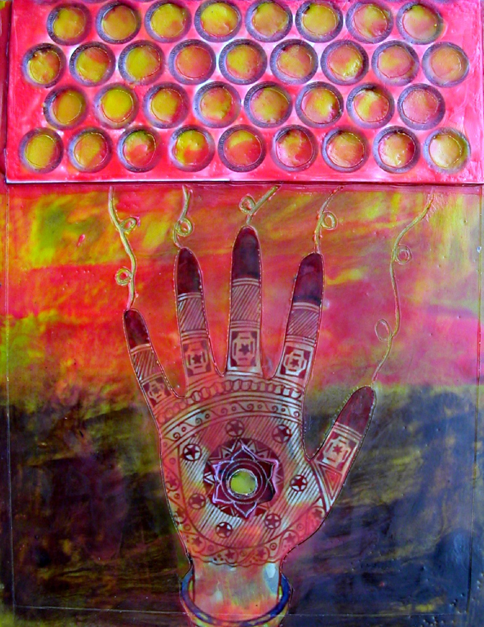 34 Suns of Healing, mixed media encaustic by Courtney Putnam