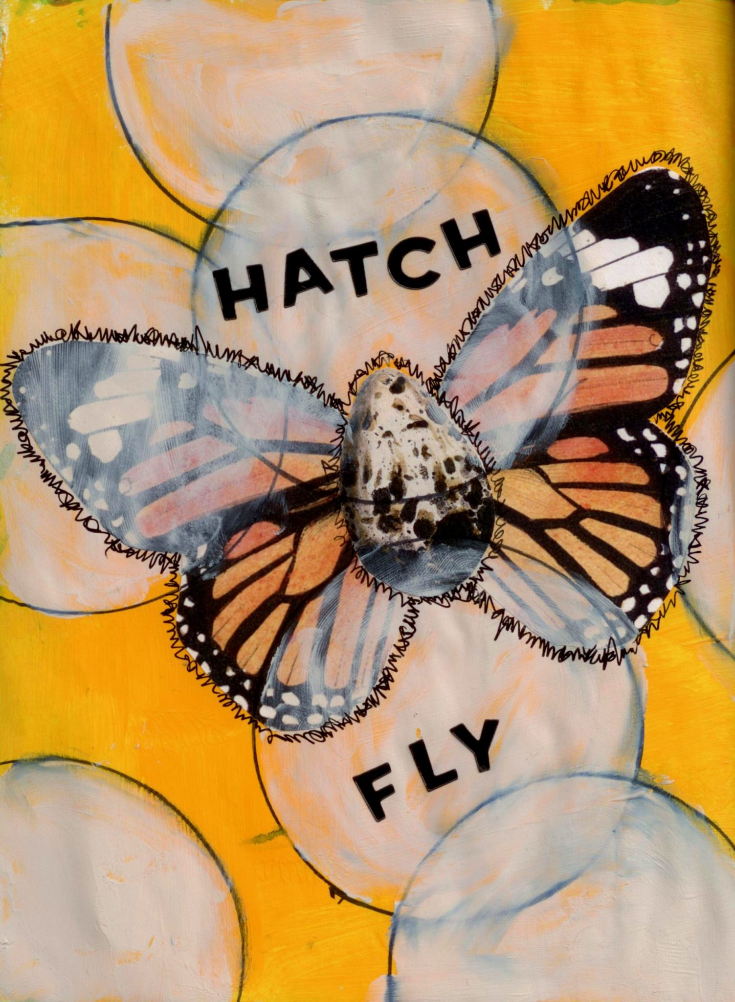 Hatch and Fly, mixed media collage by Courtney Putnam
