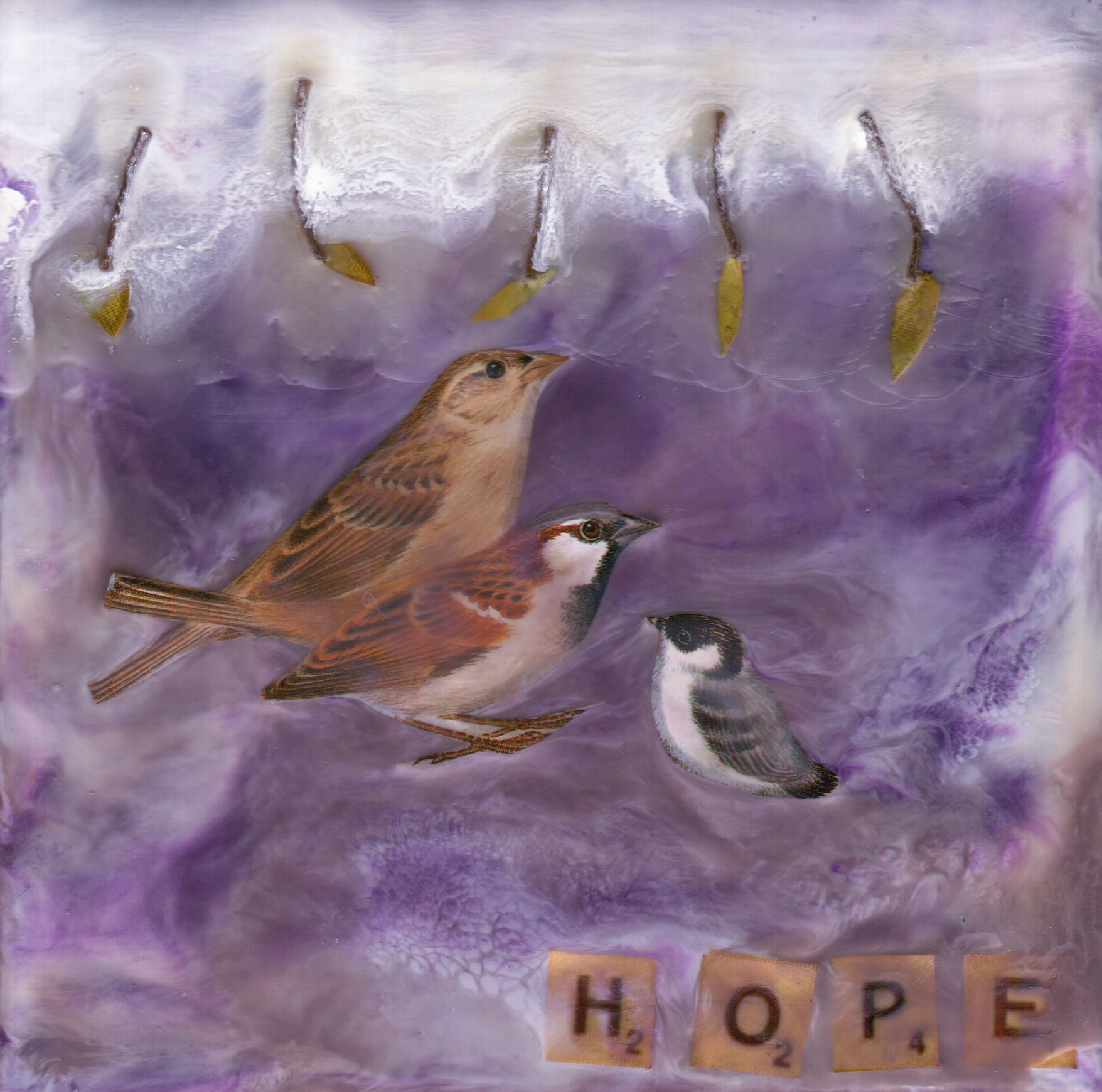 Family of Hope, mixed media encaustic by Courtney Putnam