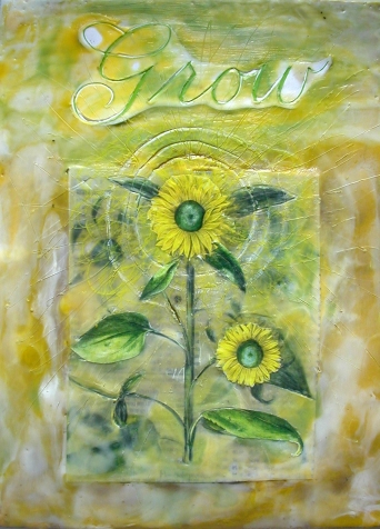 Inner Sunshine, mixed media encaustic by Courtney Putnam