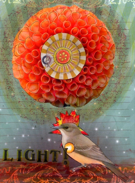 Let There Be Light!, mixed media collage by Courtney Putnam