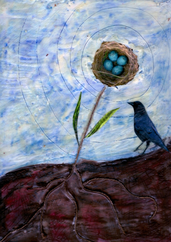 New Beginning, mixed media encaustic by Courtney Putnam