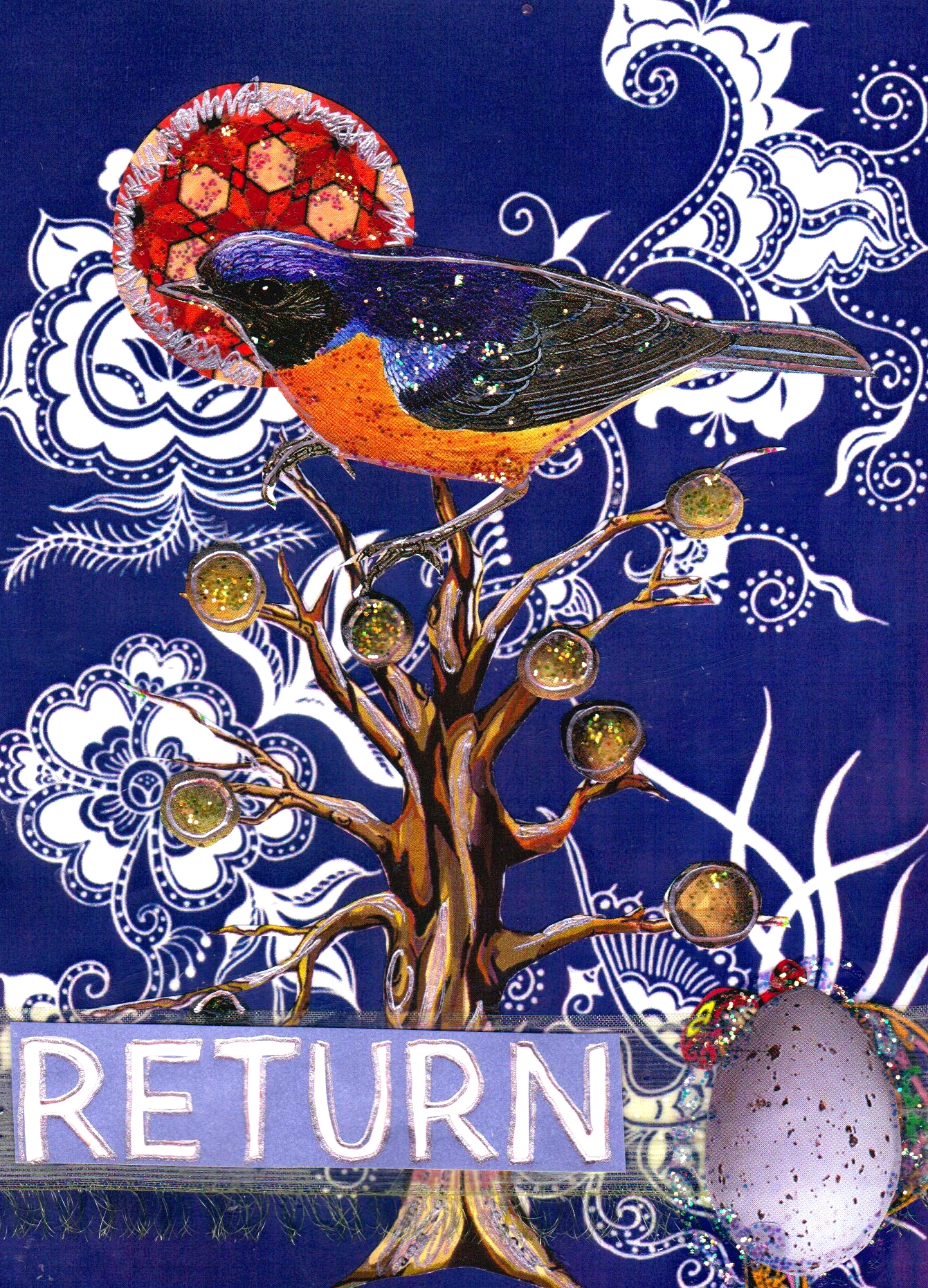 Return, mixed media collage by Courtney Putnam