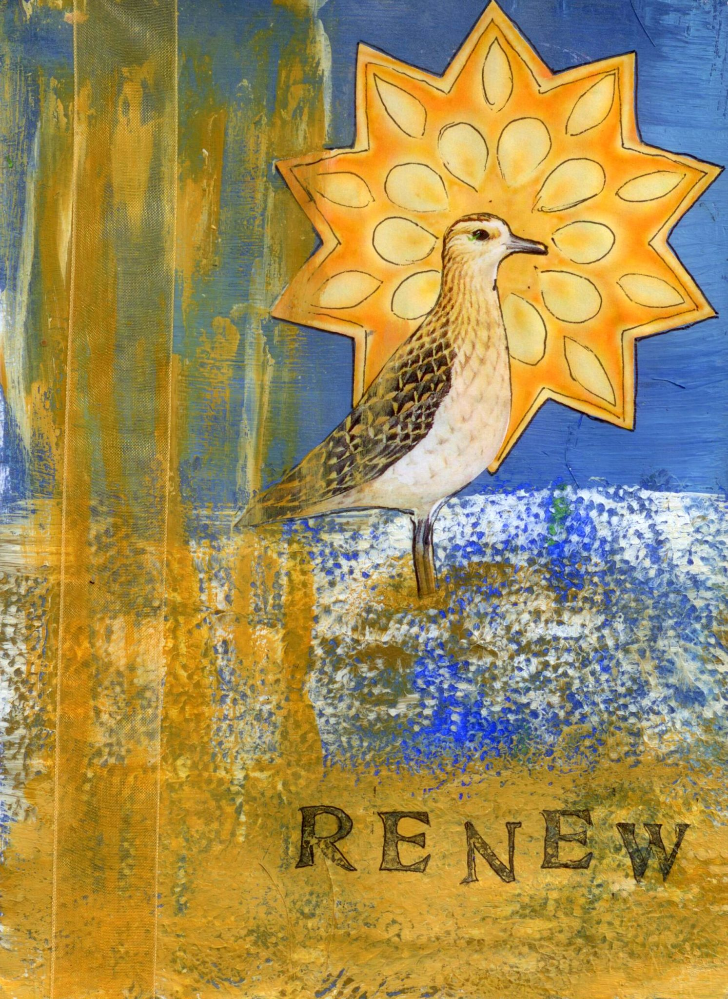 Renewal, mixed media collage by Courtney Putnam