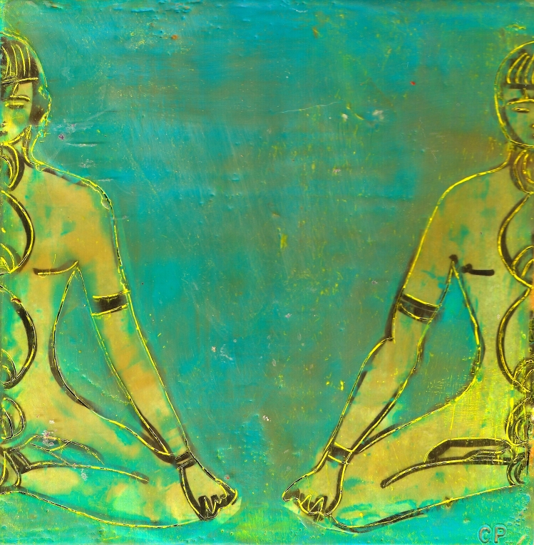 Two Sides of the Same Buddha, mixed media encaustic by Courtney Putnam
