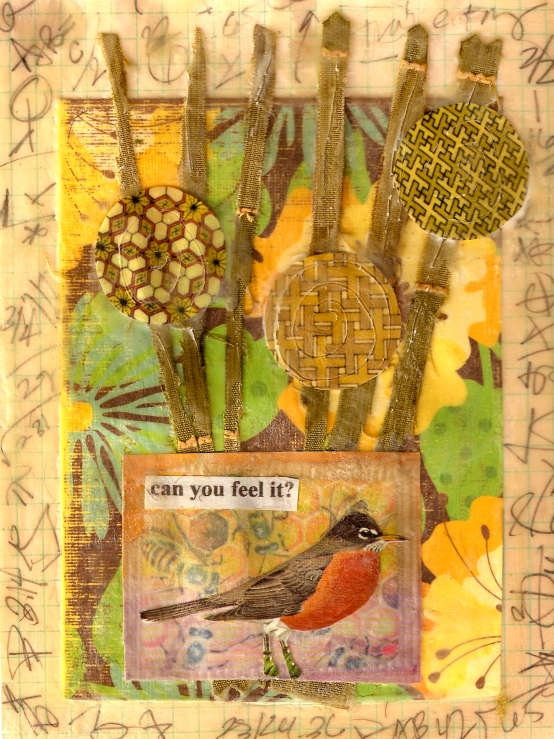 Spring Feeling, mixed media collage by Courtney Putnam