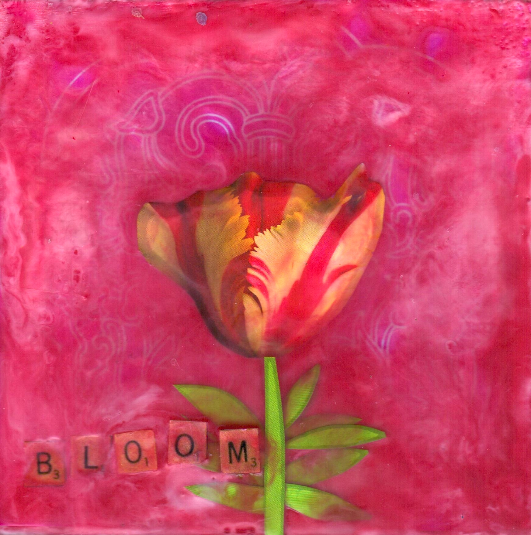 Bloom, mixed media encaustic by Courtney Putnam