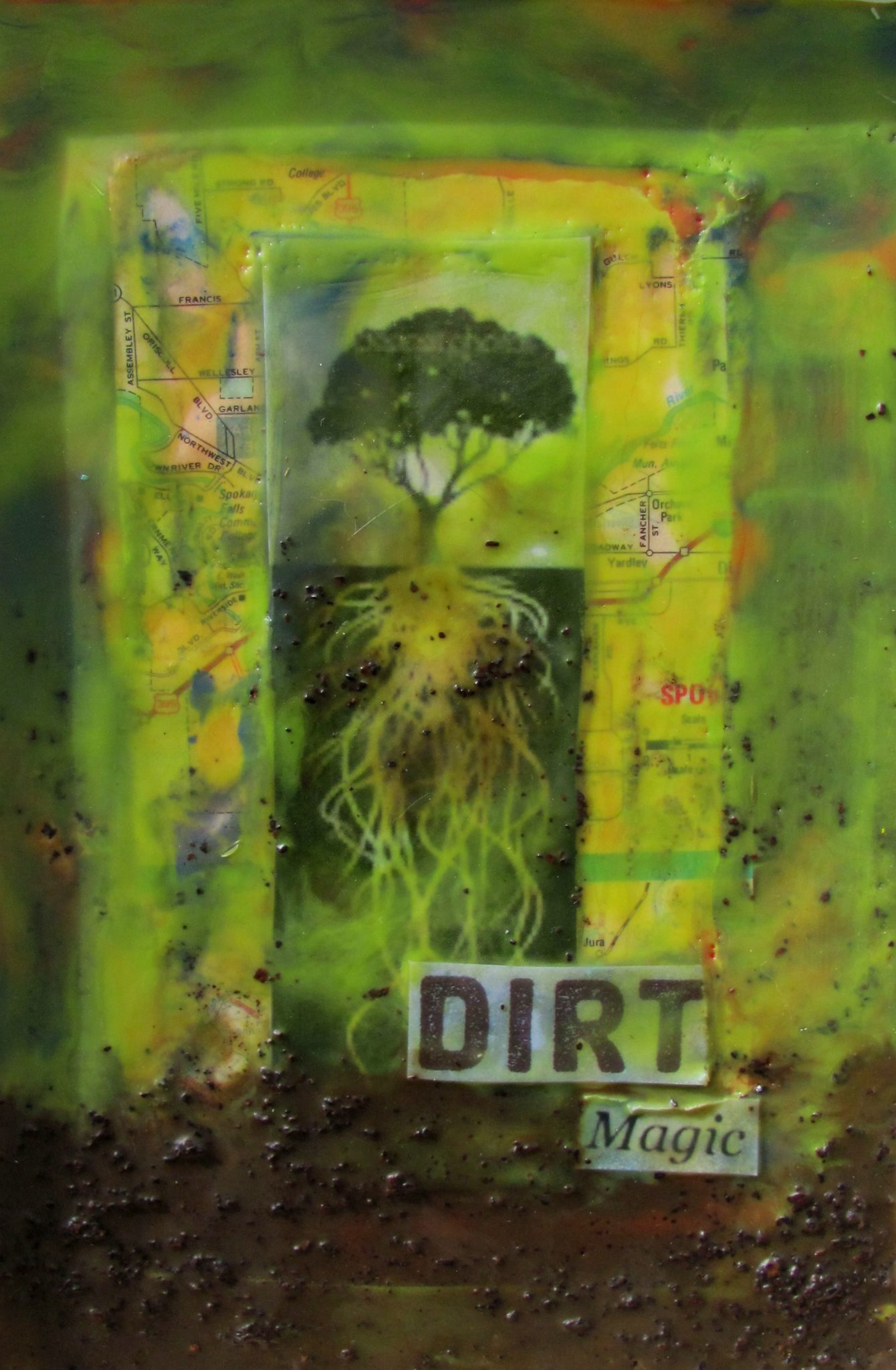 Dirt Magic, mixed media encaustic by Courtney Putnam