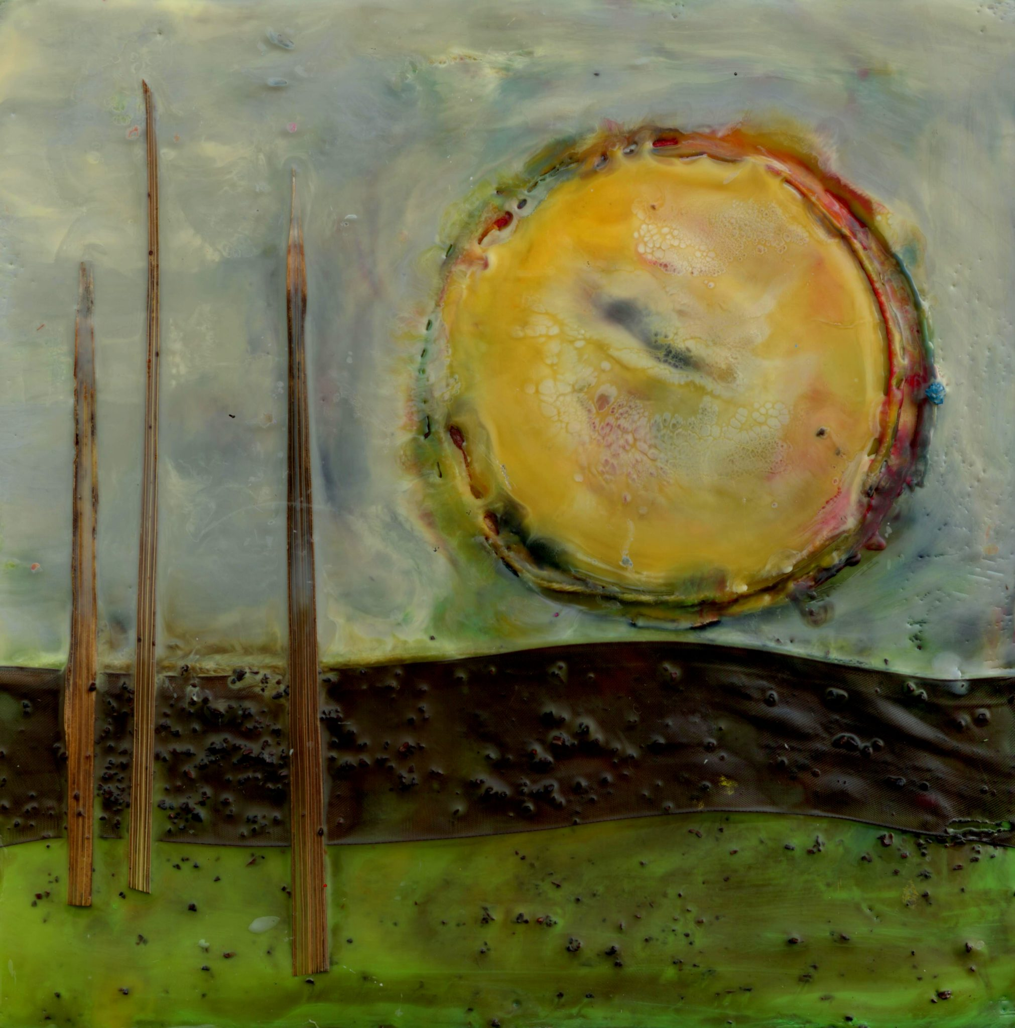 A New Day, mixed media encaustic by Courtney Putnam