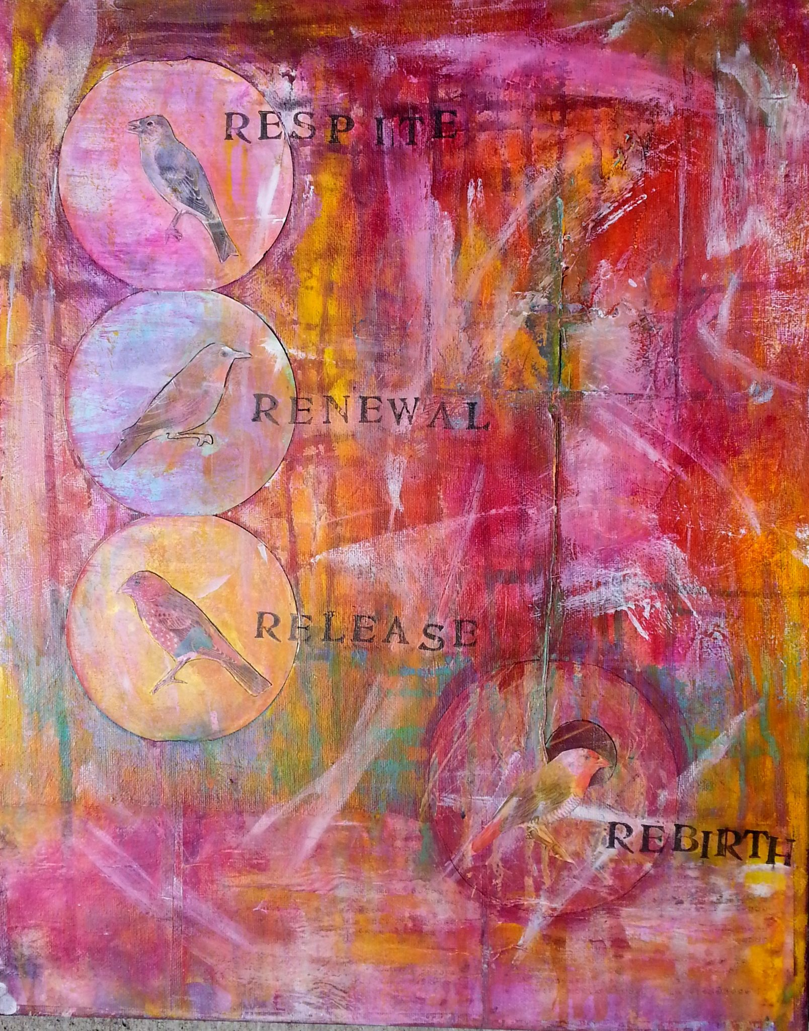 Rebirth, mixed media acrylic by Courtney Putnam