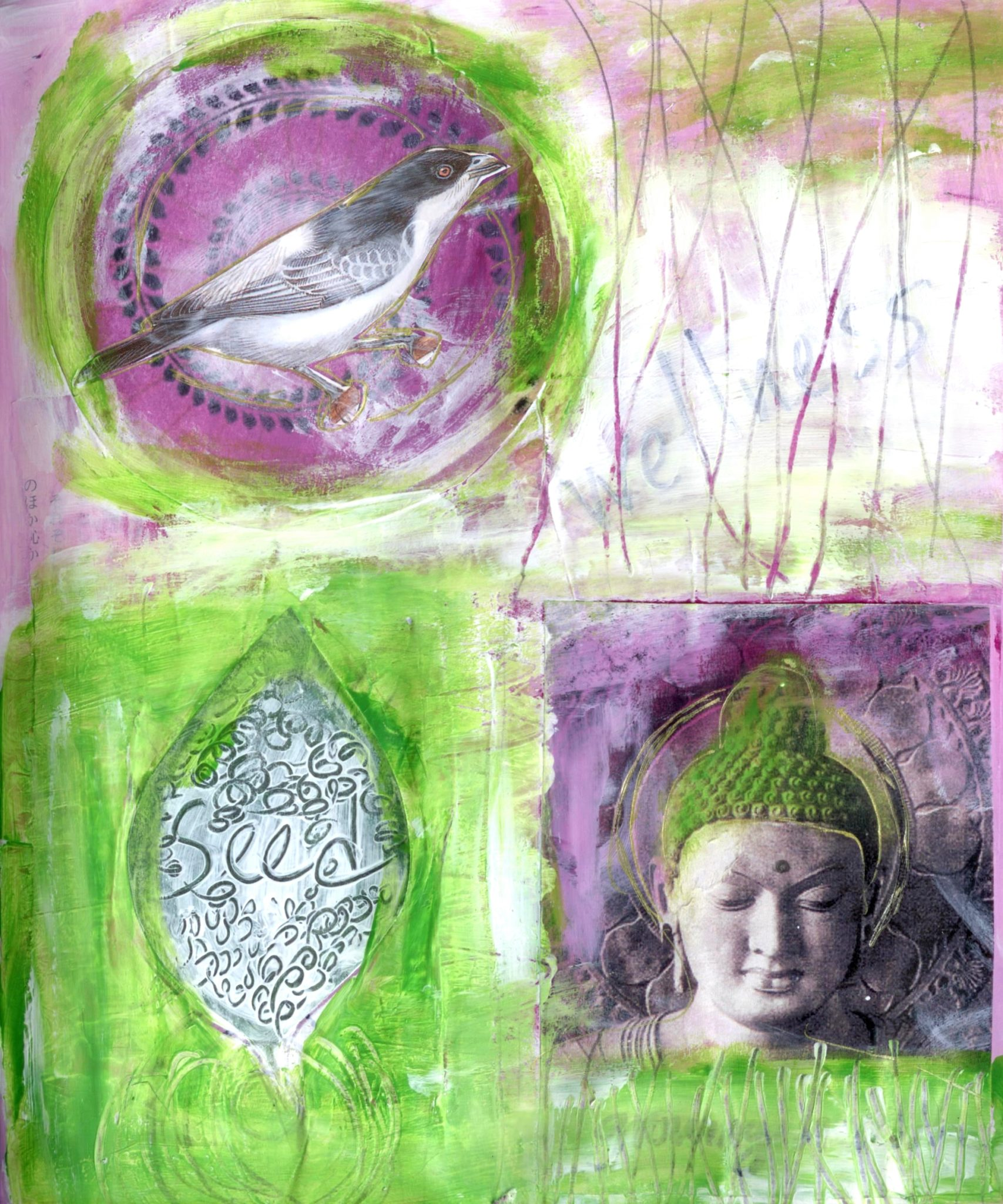 Seeds of Wellness, mixed media collage by Courtney Putnam