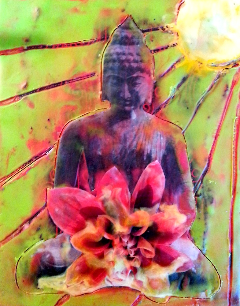 Blooming Buddha, mixed media encaustic by Courtney Putnam