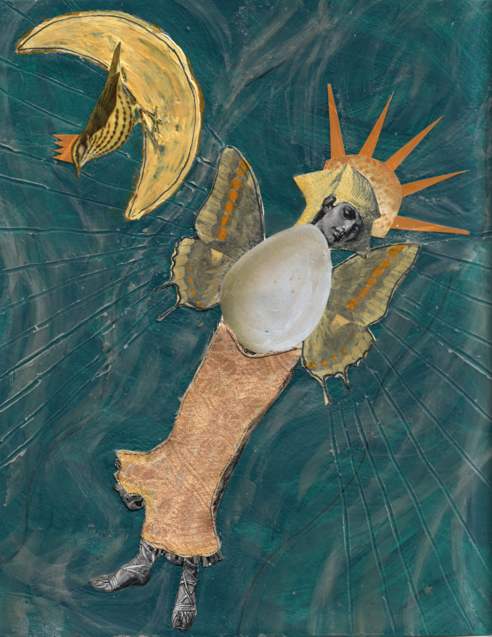 Woman Letting Go, mixed media collage by Courtney Putnam
