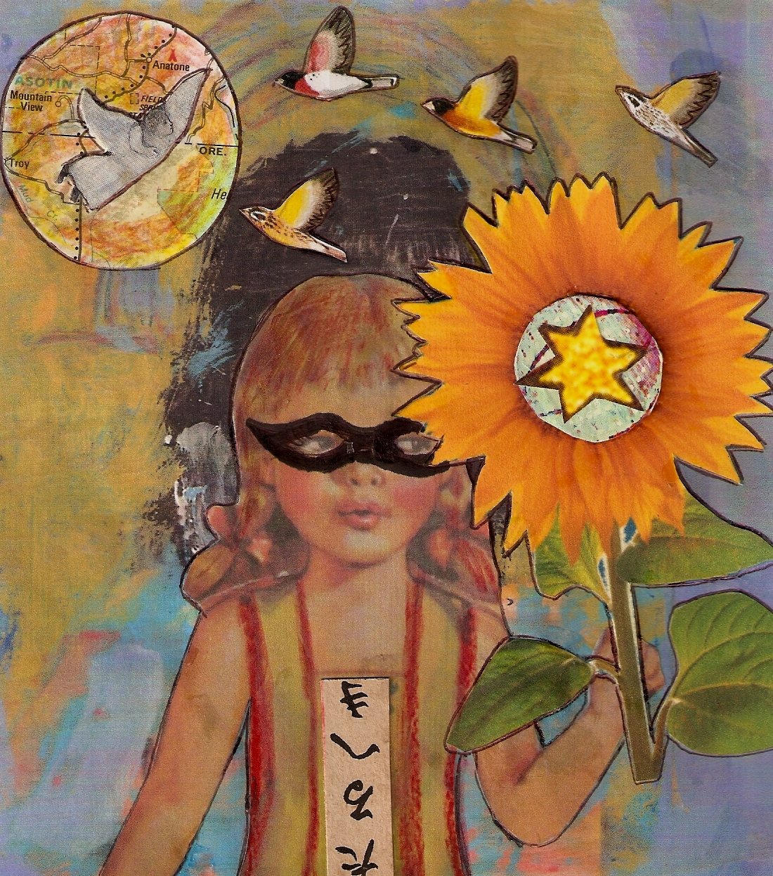Super Girl Goes to Hawaii, mixed media collage by Courtney Putnam